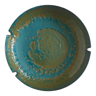 Vintage Mid Century Modernist Hanova of Pasadena Abstract Expressionist Teal & Olive Artisan Enamel Ashtray Bowl For Sale