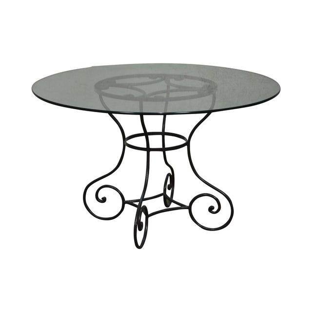 "Custom Wrought Iron Base 48"" Round Glass Top Dining Table For Sale - Image 11 of 11"
