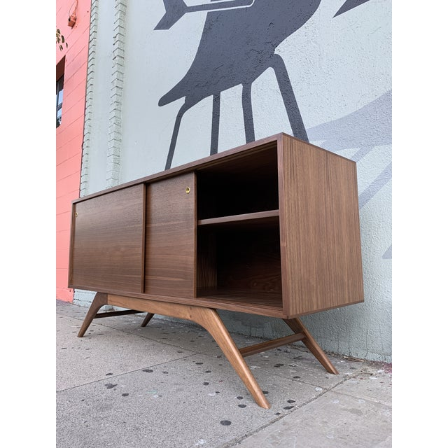 Mid Century Style Custom Made to Order Media Credenza For Sale - Image 4 of 5