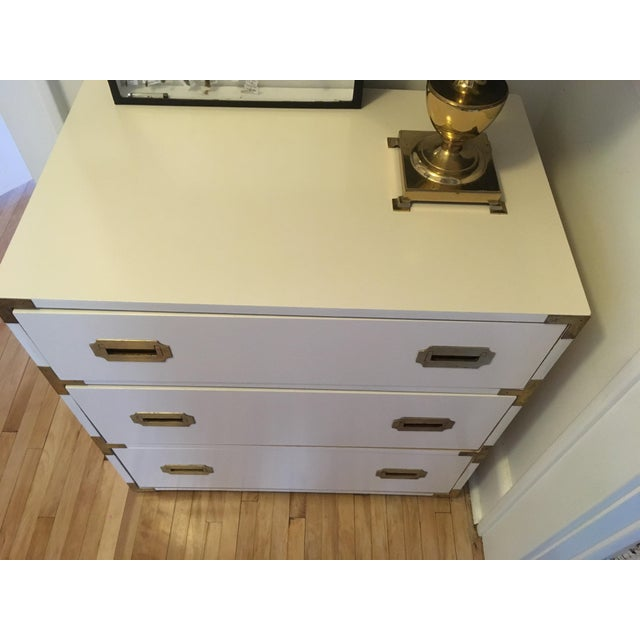 1970s Campaign Schoolfield Industries Hickory White Chest of Drawers For Sale - Image 5 of 9