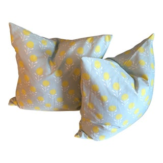 Yellow & Blue Print Pillows - A Pair