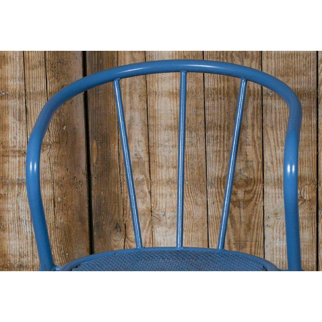 French Blue Metal Side Chairs - Set of 6 - Image 3 of 6