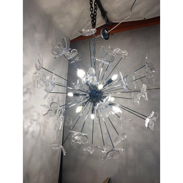 Italian Mid-Century Kromo Murano Glass Butterfly Sputnik Chandelier For Sale - Image 10 of 11