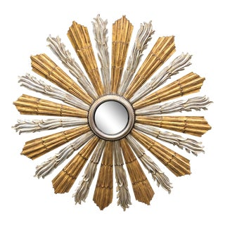 Antique French Silver & Gold Leaf Giltwood Starburst Mirror For Sale