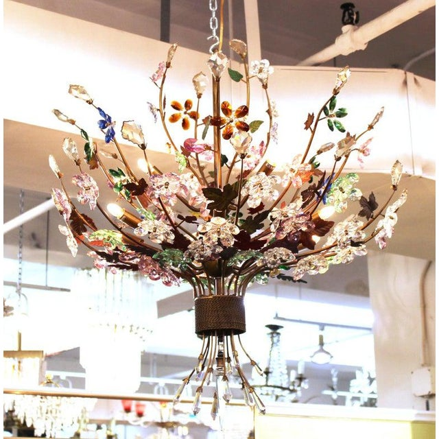 Magical mid century modern Murano glass chandelier in the shape of a floral bouquet with glass flowers in multiple colors...