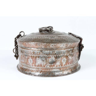 Large Decorative Round Bronze Box With Lid Preview