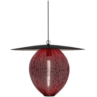 Mid-Century Modern Mathieu Matégot Black and Red Metal 'Satellite' Pendant For Sale