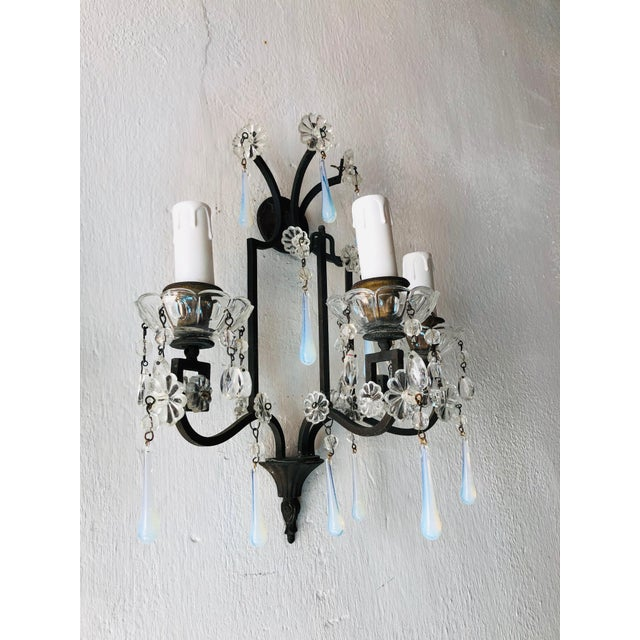 French Bronze Murano Iridescent Drops Crystal French Sconces, circa 1900 For Sale - Image 3 of 9