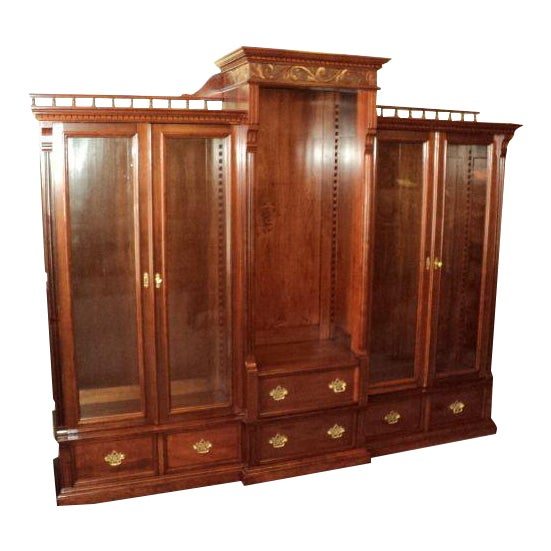 Antique Cherry Bookcase Display Cabinet For Sale