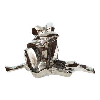 Jaru Embracing Couple Ceramic Sculpture in Platinum Finish 1970s For Sale