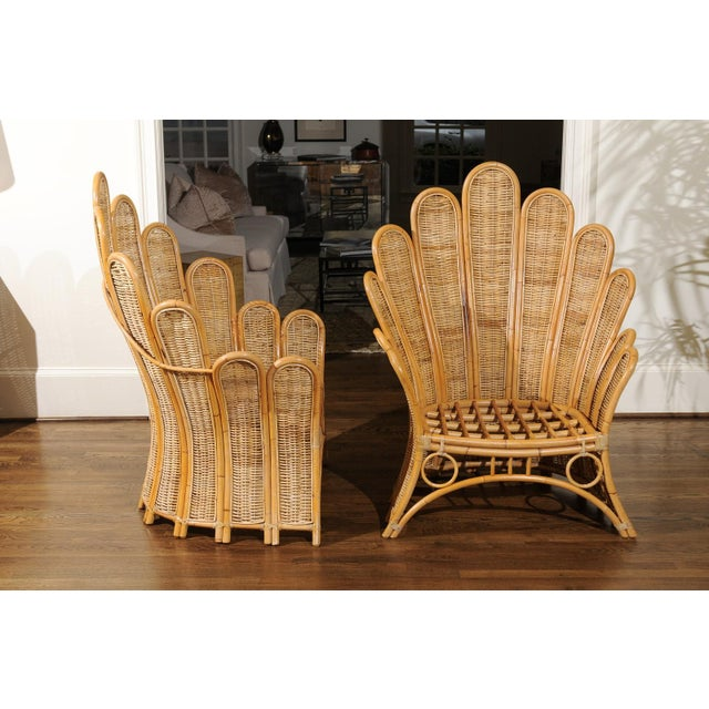 Majestic Restored Pair of Vintage Rattan and Wicker Palm Frond Club Chairs For Sale In Atlanta - Image 6 of 11