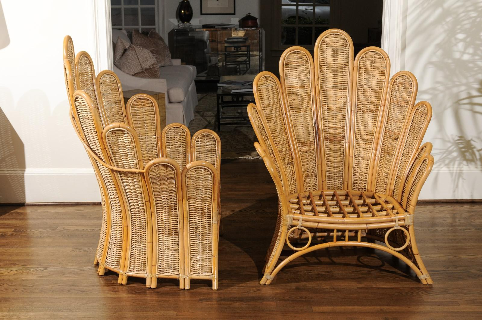 Majestic Restored Pair Of Vintage Rattan And Wicker Palm Frond Club Chairs    Image 6 Of