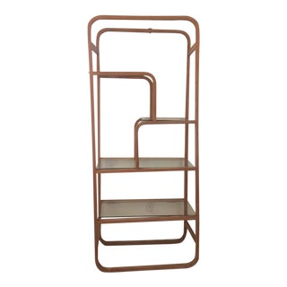 Mid Century Bentwood and Glass Free Standing Etagere For Sale
