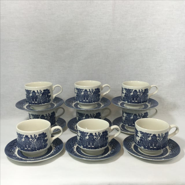 Blue Willow Teacups and Saucers - Set of 9 - Image 2 of 6