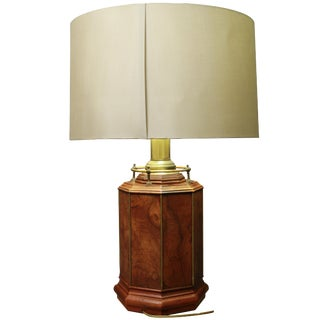 Baughman Style Mid-Century Modern Burl Octagonal Collectible Lamp and Shade For Sale