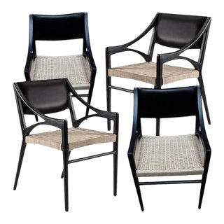 Set of 4 O Chairs in Rattan and Walnut for Dining and Desk by ATRA For Sale