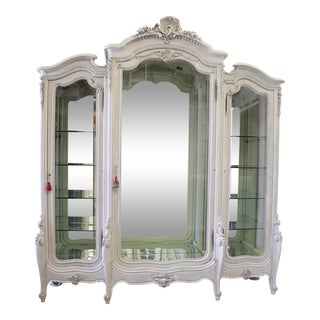 20th Century French Louis XV Style Carved Display Armoire For Sale