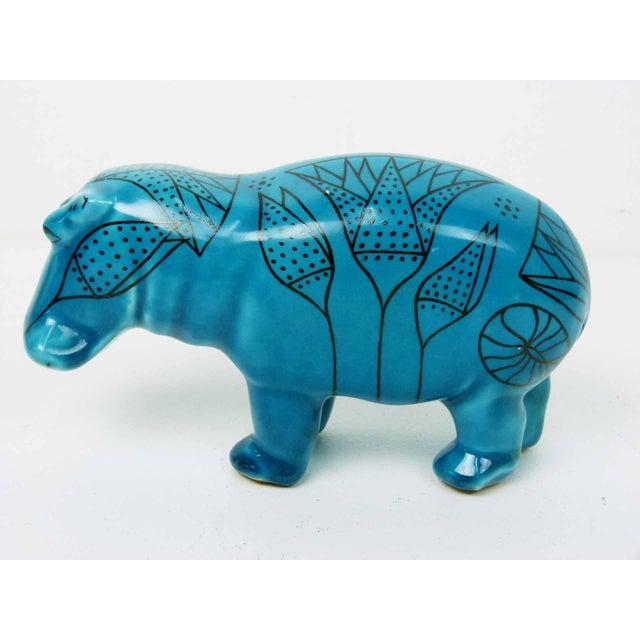 Bitossi Style Italian Blue Hippo Figurine - Image 3 of 7