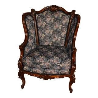 1880s Antique French Louis XV Walnut Bergere Wingback Chair For Sale