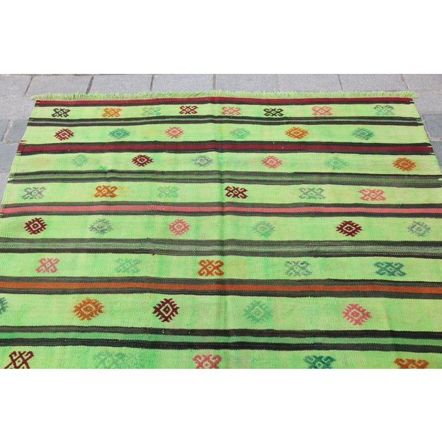 Islamic Turkish Overdyed Green Color Kilim - 7'4'' x 5'11'' For Sale - Image 3 of 11