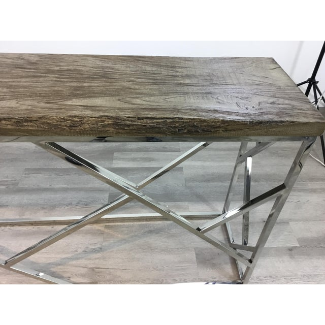 2010s Industrial Modern Reclaimed Teak Wood and Stainless Steel Console Table For Sale - Image 5 of 7