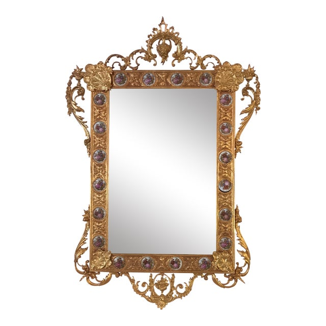Dore Bronze & Porcelain Mirror For Sale
