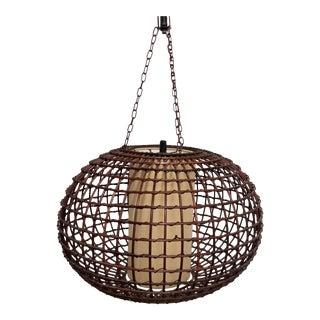 Franco Albini Style Rattan Wicker Swag Pendant Lamp For Sale