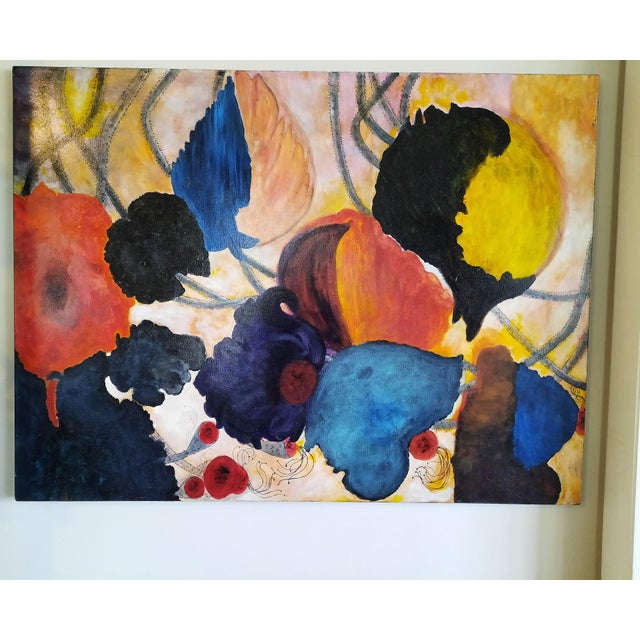 Abstract Abstract Floral Modern Painting For Sale - Image 3 of 3