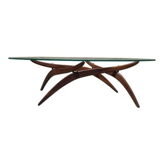 Mid Century Danish Modern Forest Wilson Walnut and Glass Sculptural Surfboard Coffee Table For Sale