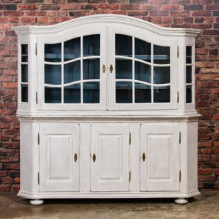 19th Century Country White Painted Glass Cabinet Preview