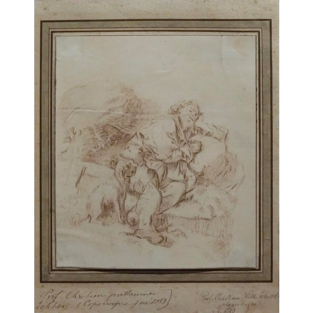 Country Christoffer Wilhelm Eckeisberg- Man Resting With His Dog -18th Century Etching For Sale - Image 3 of 10