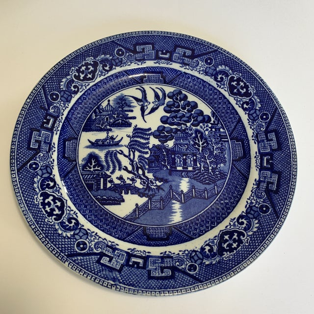 Early 20th Century Blue Willow Deep Cobalt Plate For Sale - Image 4 of 4