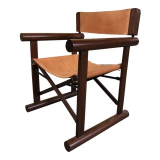 1970s Vintage Rosewood & Leather Adjustable Campaign Chair For Sale