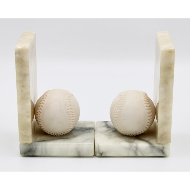 Mid Century Italian Alabaster Baseball Bookends For Sale - Image 4 of 10