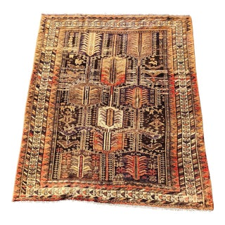 "Vintage Persian Gabbeh Wool Rug - 4'10""x6'4"" For Sale"