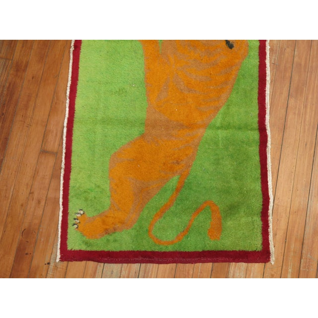 Figurative Angry Tiger Vintage Turkish Rug, 2'3'' X 4'6'' For Sale - Image 3 of 10