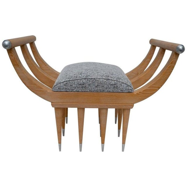 Custom Curule Bench in Oak and Stainless Steel For Sale - Image 12 of 12