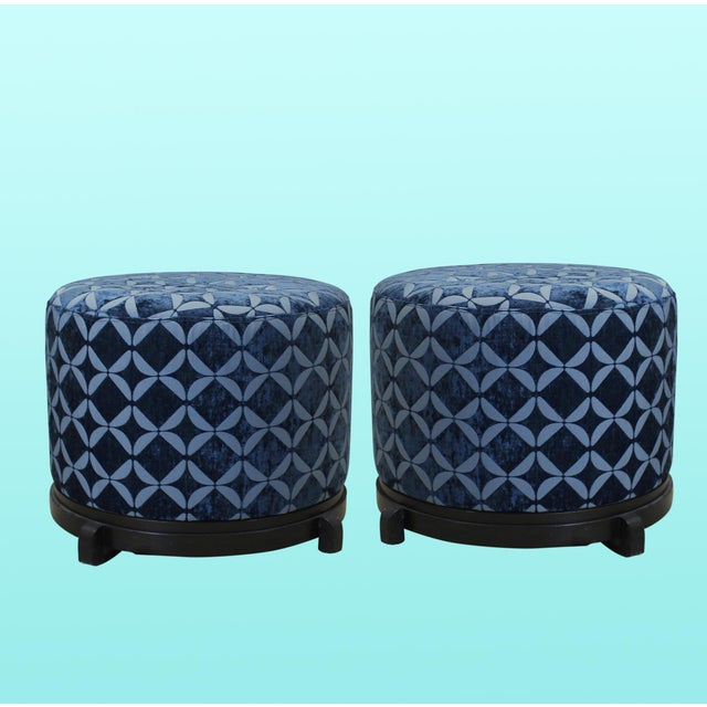 Vintage Blue Upholstered Round Ottomans - A Pair - Image 5 of 5