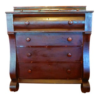 1800s Empire Mahogany Lincoln 4-Drawer Chest For Sale