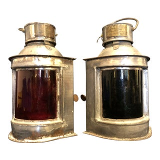 Antique Ship Navigation Lights, a Pair For Sale