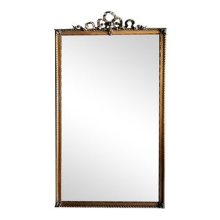 1870-1880 French Louis XVI Style Gold Leaf Wood Mirror For Sale