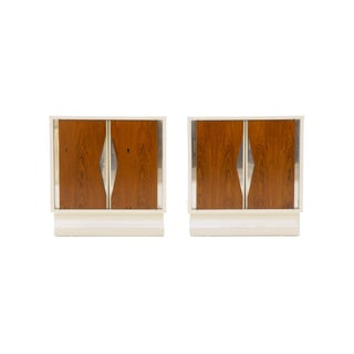 Milo Baughman Nightstands, Pair, White Lacquer and Rosewood with Chrome Accents For Sale