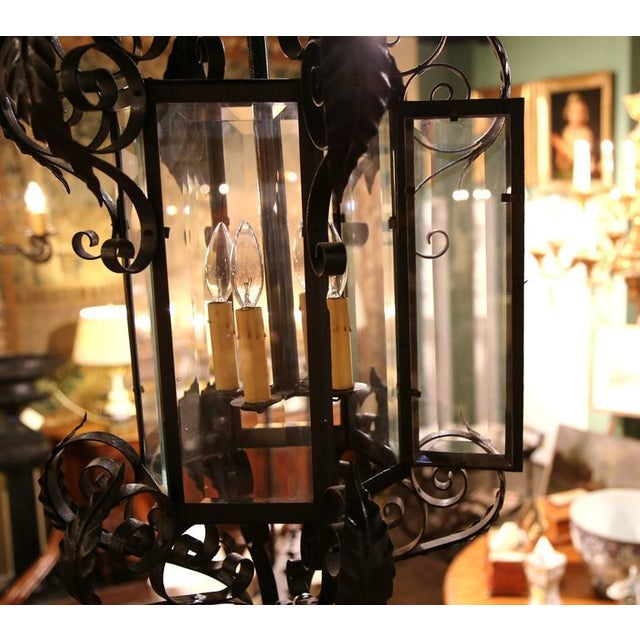 Black Early 20th Century French Black Four-Light Iron Lantern With Beveled Glass For Sale - Image 8 of 10