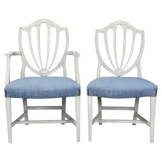Set of Eight Shield Back Painted Dining Chairs For Sale