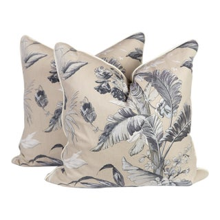 Custom Grey Palm Pillows - a Pair