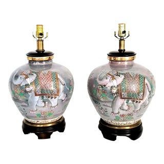 Restored Vintage Frederick Cooper Pair of Elephant Table Lamps - Chinese Ceramic Porcelain - Iridescent Lavender - Asian Mid Century Modern For Sale