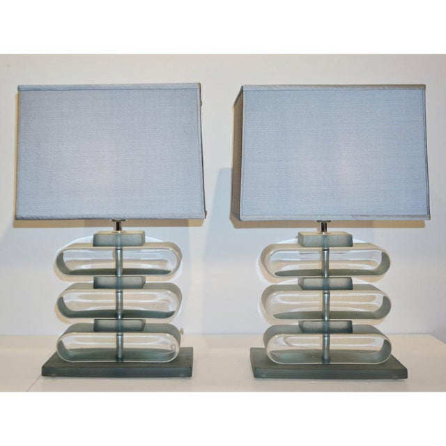 Contemporary Italian Modern Nickel and Smoked Aqua Murano Glass Architectural Lamps - a Pair For Sale - Image 3 of 10
