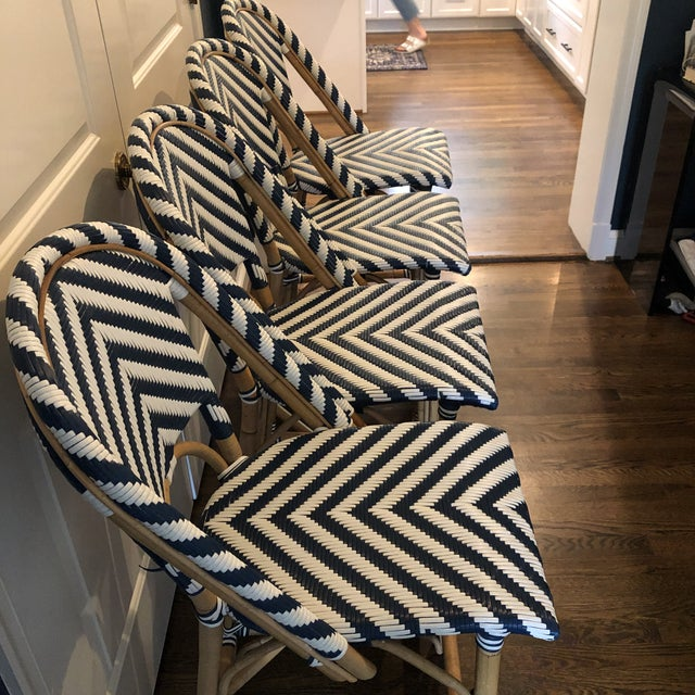 2010s Serena & Lily Chevron Riviera Stools - Set of 4 For Sale - Image 5 of 8