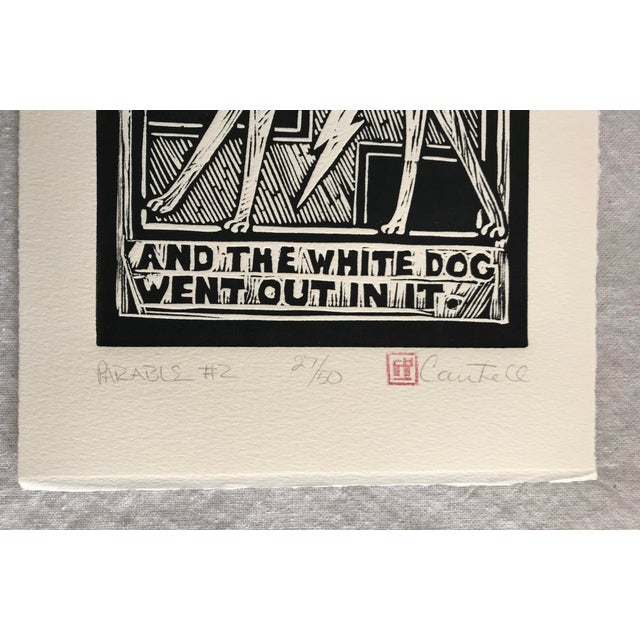 "Original ""Parable #2"" Black Cat, White Dog Hand Pulled Linocut Print For Sale In Los Angeles - Image 6 of 12"