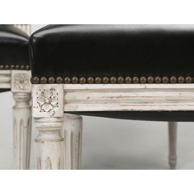 Black 8 Painted French Louis XVI Dining Chairs W/ Leather For Sale - Image 8 of 13